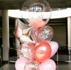 Набор из воздушных шаров с прозрачным шаром баблс