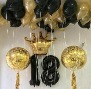 Воздушный шар корона с черными цифрами