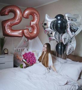Воздушные шары цифры 23 розовое золото