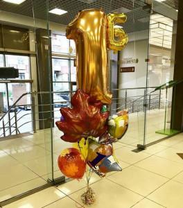 Фонтан из воздушных шаров с цифрой 1