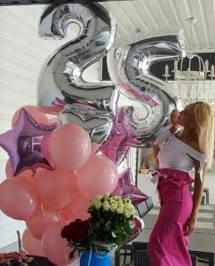 серебряные воздушные шары цифры 25 для девочки