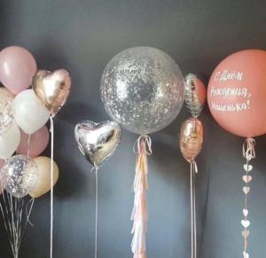 Большие шары на день рождения с конфетти