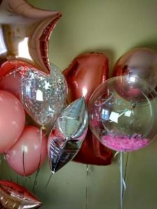 Воздушные шары в цвете розовое золото