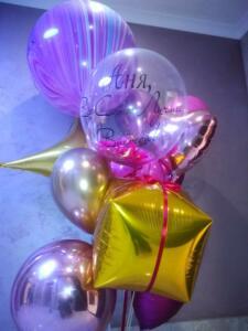 Фонтан из воздушных шаров с кубом