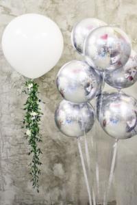 воздушный шар 3д сфера серебро
