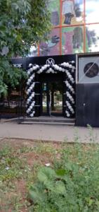 Черно-белая арка из воздушных шаров