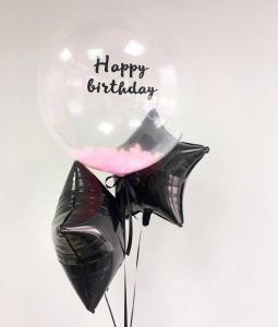 Прозрачный шар баблс с розовыми перьями и надписью