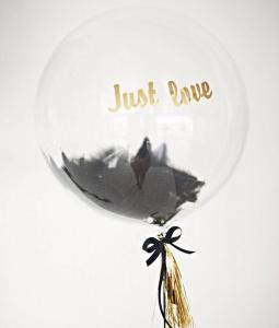 Прозрачный шар баблс с черными перьями и надписью