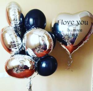 Серебряные шар сердце с надписью