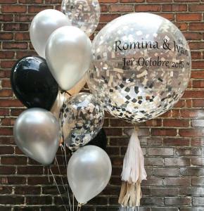 Большой прозрачный воздушный шар с серебряными конфетти и тассел гирляндой