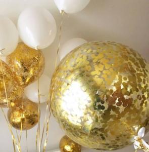 Воздушные шары с золотыми конфетти