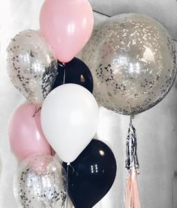 Воздушные шары с серебряными конфетти