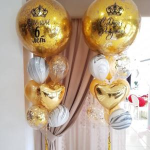 Большие шары с золотыми конфетти