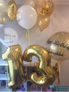 Золотая цифра 13 из воздушных шаров