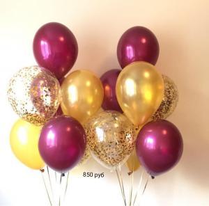 Фонтаны из шаров бургундия, золото и с конфетти