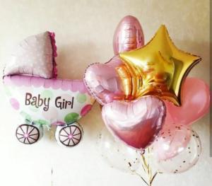 Воздушные шары на выписку из роддома девочки