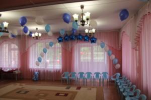 Украшение зала в детском саду шарами